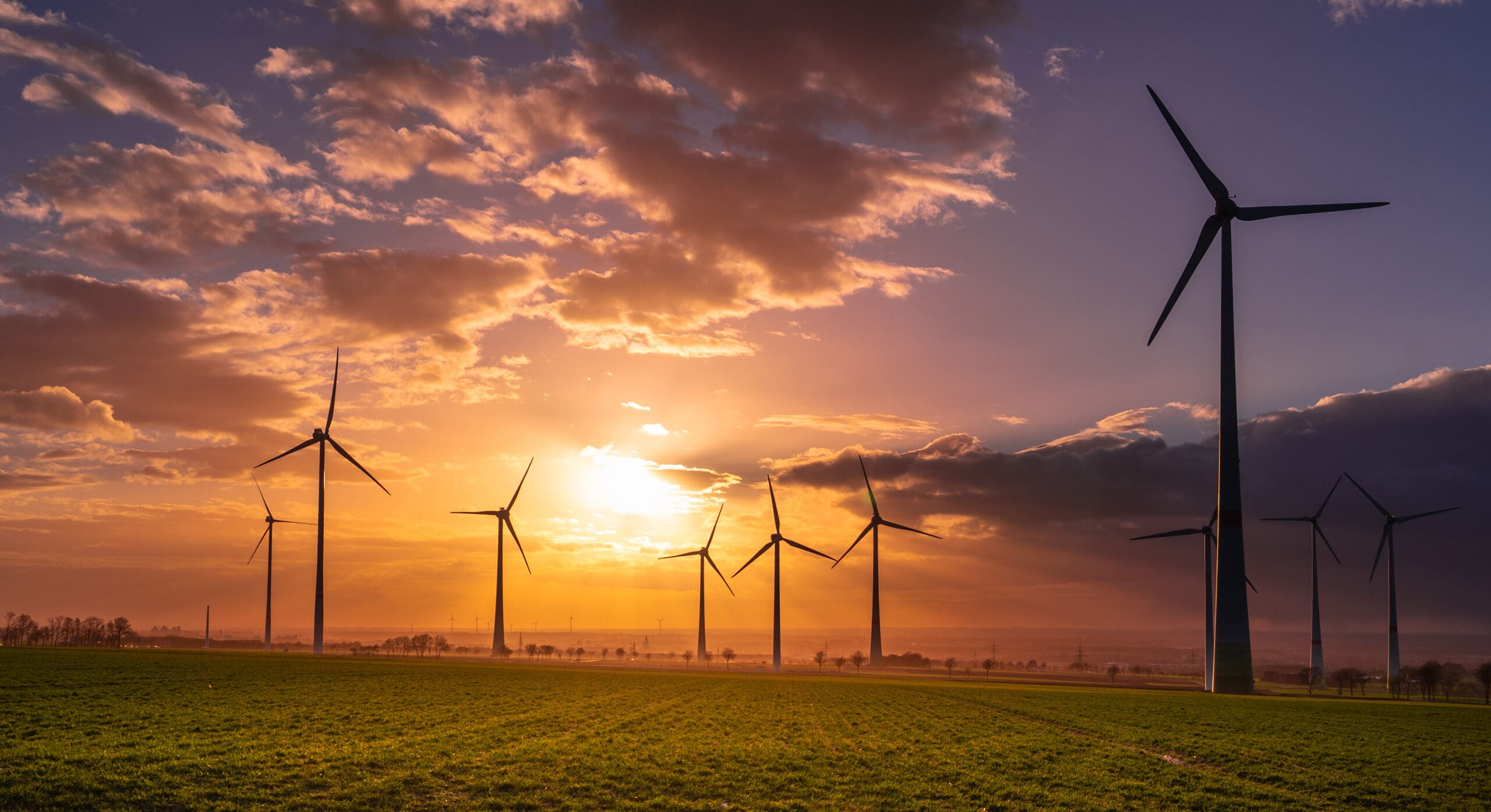 Sunset,With,Wind,Turbines